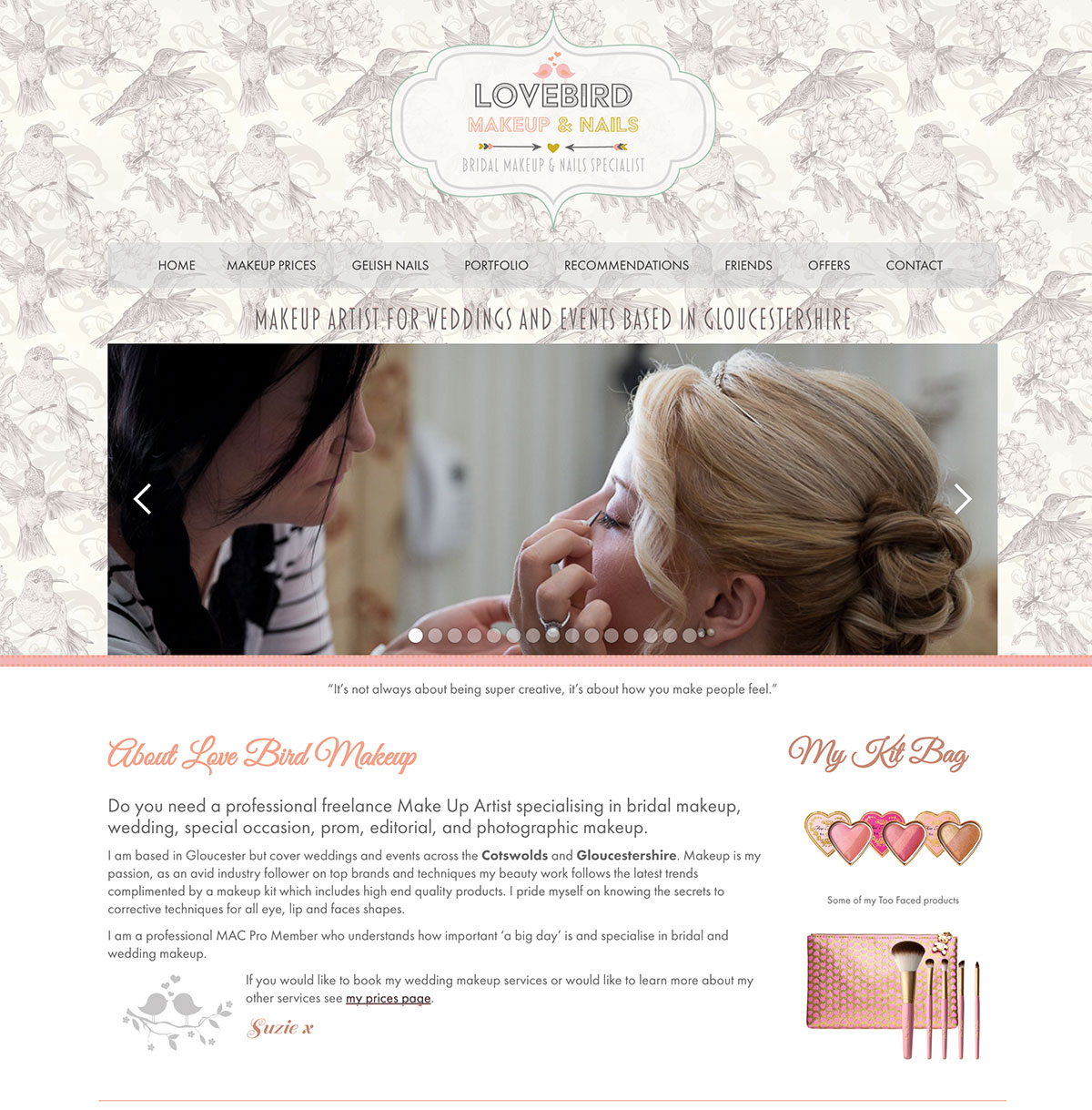 Lovebird Makeup Artist Website