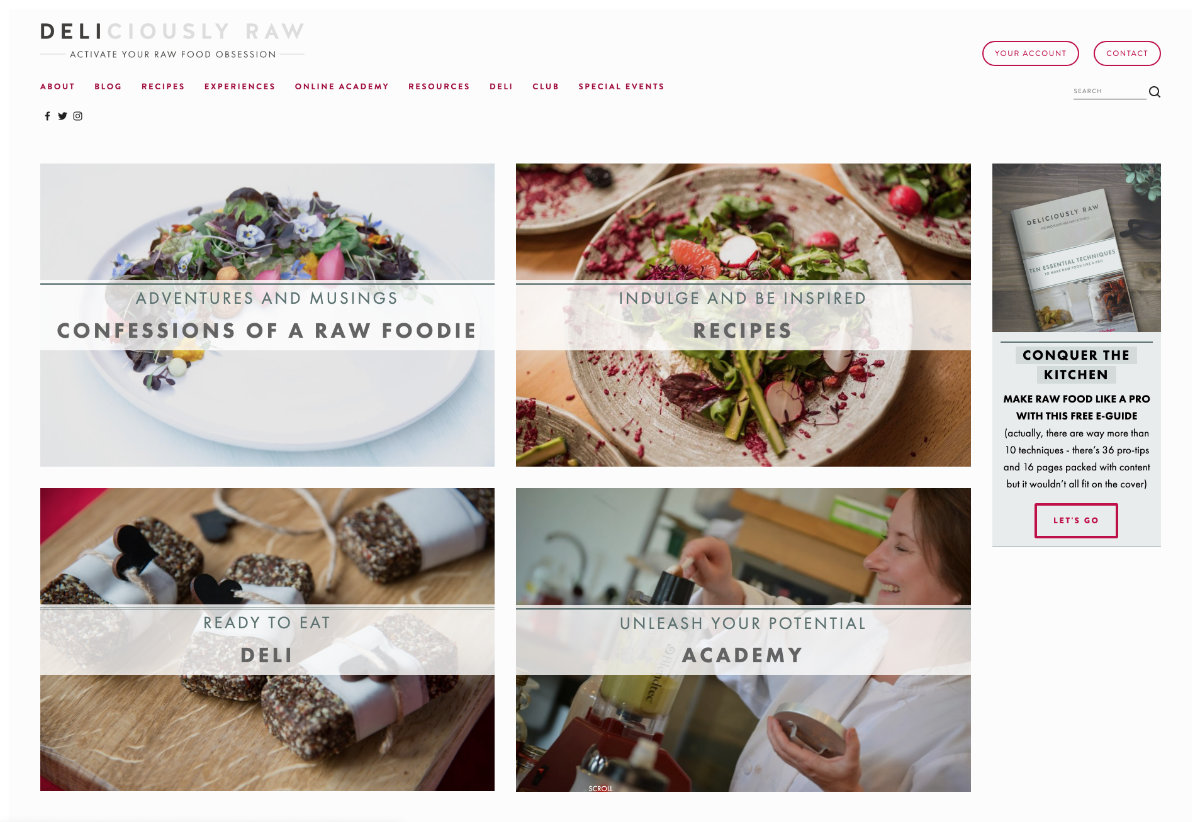 Raw Food Chef Blog Website Design